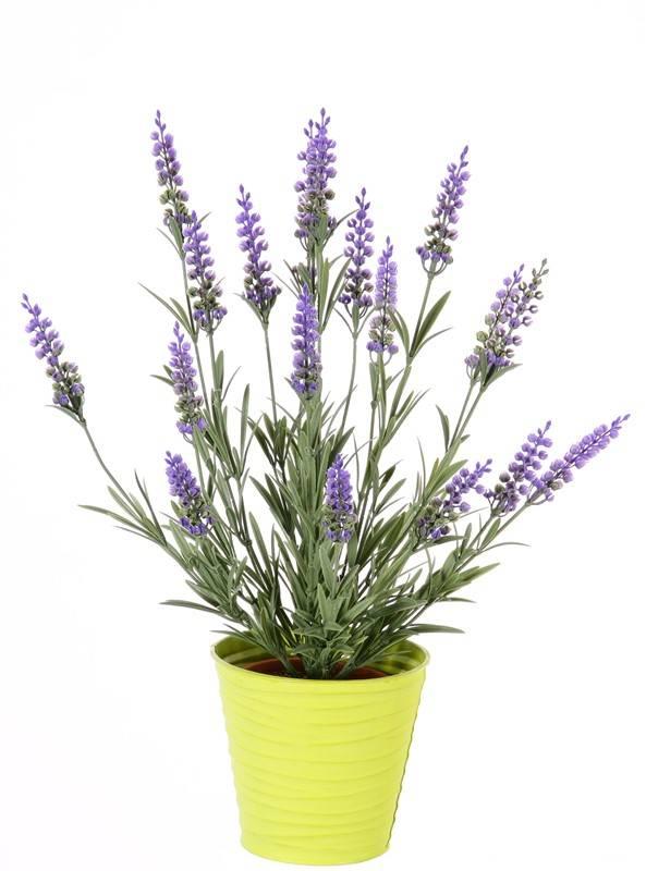 Artificial lavender (Lavandula) bush, 76 lvs. & 19 flowers (8cm), UV safe, full plastic, 45cm