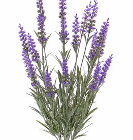 Artificial lavender (Lavandula) bush, 76 lvs. & 19 flowers (8cm), UV safe, full plastic, 45cm