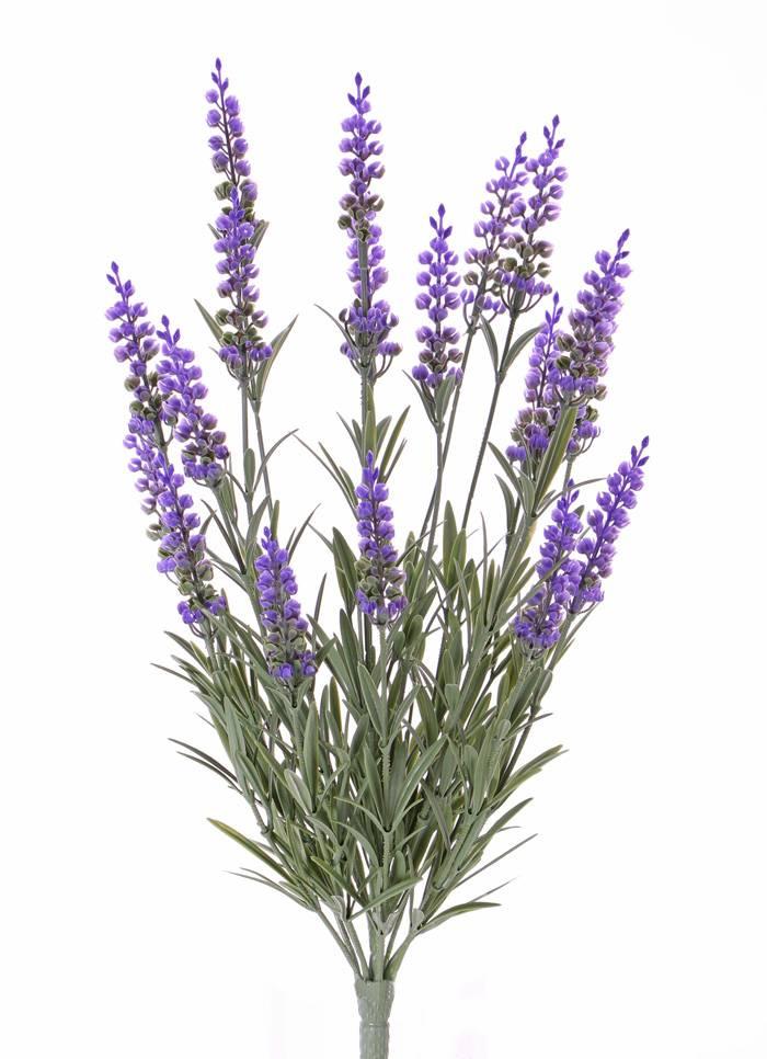 Lavendel mit 76 Blättern und 19 Rispen (8cm), UV-sicher, gänzlich aus Plastik, 45cm