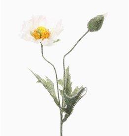 Poppyflower, x1 flr & 1 bud, flocked leaves & stem, 40cm