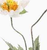 Papaver, x1 flr & 1 knp, flocked leaves & stem, 40cm, Ø 9cm
