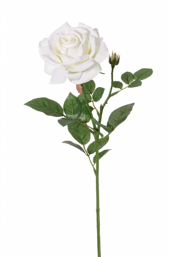 "Roos de luxe ""Fleuri"" x1flr, Ø 12cm, x1bud, x20lvs, 70cm"