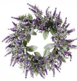 Lavender Wreath (Lavandula) Ø 15CM/30CM with 69 flowers, flocked
