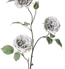 Rose branch, 3 flrs (ø8cm), 1 bud, 12 lvs, full wire, 81cm