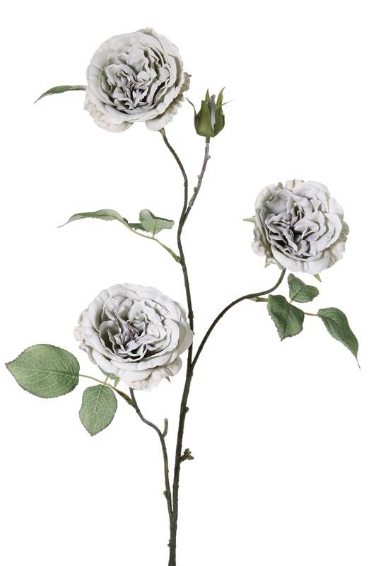 Rozentak met 3 bloemen (ø8cm), 1 knop, 12 bladeren, full wire, 81cm