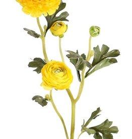 "Ranonkel (Ranunculus) ""Glory"", 3 flowers, 4 buds & 12 leaves, flocked stem, 65 cm"