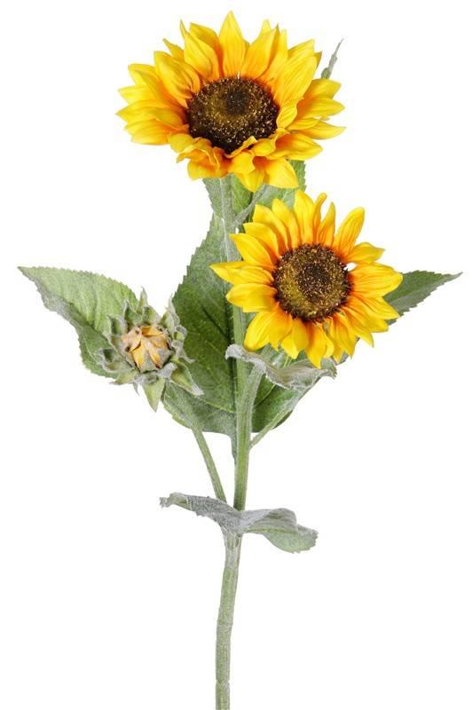 Zonnebloem (Helianthus) 2 bloemen, (ø12/15cm), 1 knop, 7 bladeren, flocked, 86cm