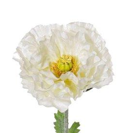 "Mohnblume (Klatschmohn) double, ""satin"", 3 Blätter, Ø 12cm, beflockt, 74cm"