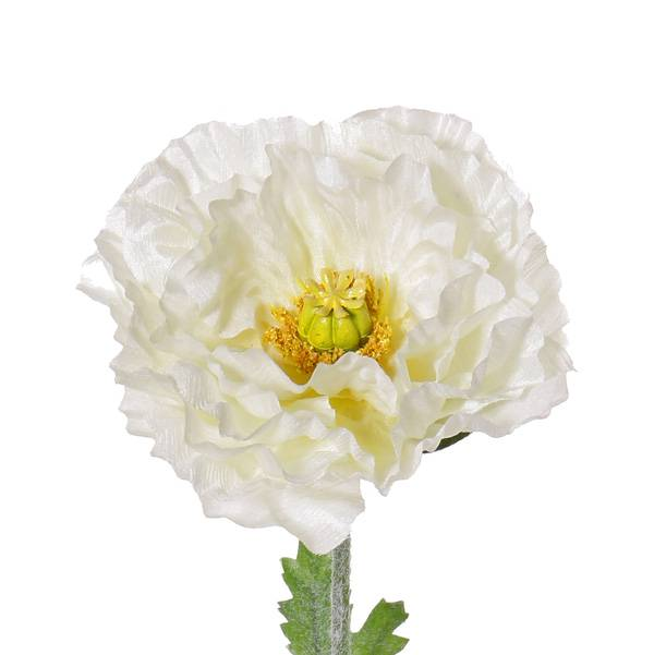"Poppy flower double, ""satin"" x1, x3lvs, ø12cm, x6petals, flocked, 74cm"