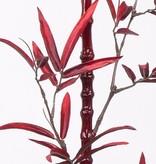 Porcelain bamboe rood, rode steel, met blad, 152cm - very classy