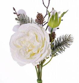 Snow Mixed Bouquet W/Rose, Pom Pom, Twig & Cone, 28cm