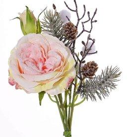 Schnee-Bouquet mit Rose, Pom Pom, Eiszweigen, Zapfen, 28cm, Ø 15cm