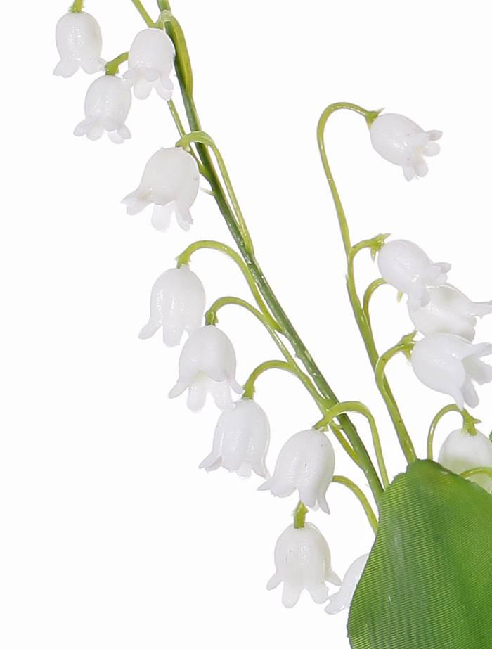 Maiglöckchen (Convallaria majalis) 3 Rispen, 29 Glöckchen, 2 Blätter (Textil, beschichtet), 36cm