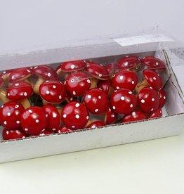 Mushroom, 33mm, on wire, 36 pcs in PVC box, red