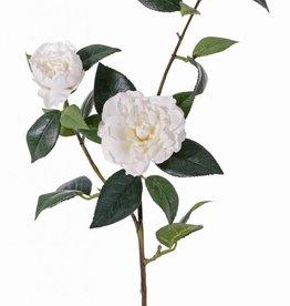 rama de Camellia 'de luxe' 2 flores, 1 capullo & 22 hojas, tallo cubierto, REAL TOUCH, 86cm