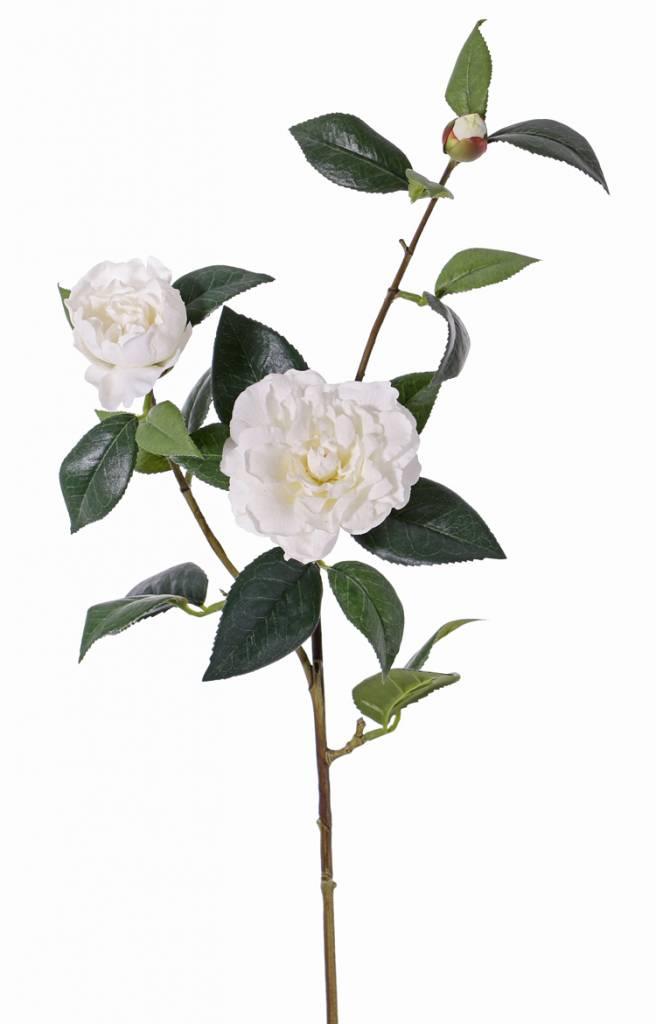 "Kamelienzweig ""de luxe"" 2 Blumen (Ø 10cm / Ø  5cm), 1 Knospe, 22 Blätter, Stiel beschichtet, REAL TOUCH, 86cm"
