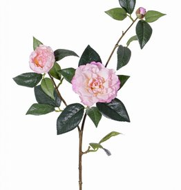 "Camellia spray ""de luxe"" 2 flowers, 1 bud & 22 leaves, coated stem, REAL TOUCH,  86cm"