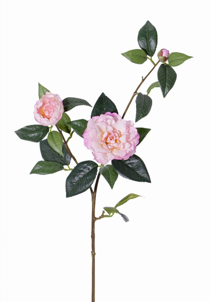 """Camellia spray """"de luxe"""" 2 flowers, 1 bud & 22 leaves, coated stem, REAL TOUCH,  86cm"""