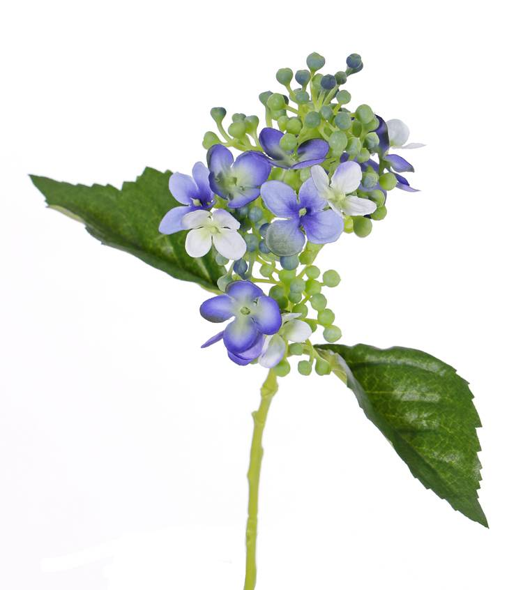 "Hydrangea ""fresh bloom"",  15flowers, 2 leaves & soft pvc buds, 33 cm"