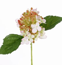 "Hydrangea ""fresh bloom"", 15 flowers, 2 leaves & soft pvc buds, 33 cm"