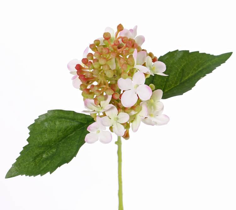 "Hortensia  ""fresh bloom"", 15 bloemen,  2 bladeren,  & zachte pvc knoppen,  33 cm"