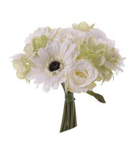 """Ramo de flores """"Mila"""" gerbera/rosa/hydrangea,  10 flores,  25cm, Ø 20cm"""