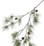 Rama de pino, 4 conos naturales, 17 grupos de hoja de pinus, 110cm