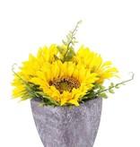 Girasol deco de mesa, 3flores  (Ø9cm/11cm)  & 4 hojas, en maceta de papel (Ø8cm), 18cm alt. - precio especial