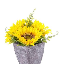 Zonnebloemdeco, 3bloemen (›9cm/11cm) & 4blaadjes, in papieren pot  (Ø8cm), 18cm hoog - speciale prijs