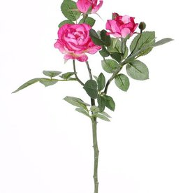 "Rose spray ""Elsa"", 3 flowers (Ø 7/5/3,5cm), 2 buds, 32 lvs., 48 cm"
