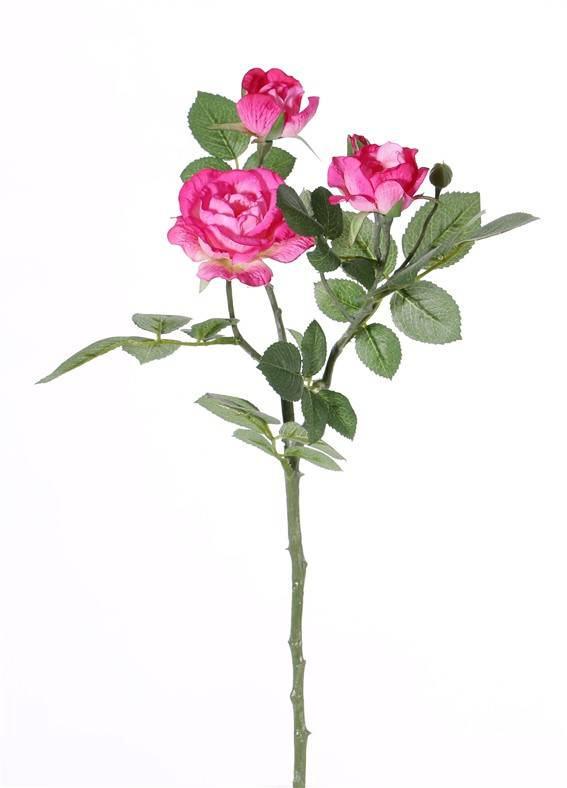 "Rose spray ""Elsa"", 3 flowers (Ø 7/5/3,5cm), 2 buds, 32 lvs., 48 cm"