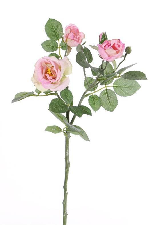 "Rozentak ""Elsa"", 3 bloemen (Ø 7/5/3,5cm), 2 knop (1 plastic) & 32 blad, 48cm"