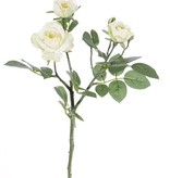 "Rose spray ""Elsa"", 3 flowers, (Ø 7/5/3,5cm), 2 buds, 32 leaves, 48 cm"