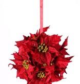Poinsettiabal (Kerstster) met 12 velvet bloemen (ø18cm) & rood lint, Ø 25cm