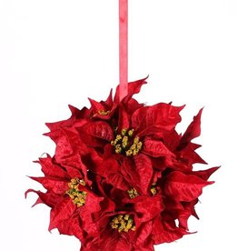 Poinsettiabal  with 12 velvet flowers (ø18cm) & red ribbon, Ø 25cm