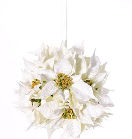 Poinsettiabal (Kerstster) met 12 velvet bloemen (ø18cm) & creme/witte lint, Ø 25cm