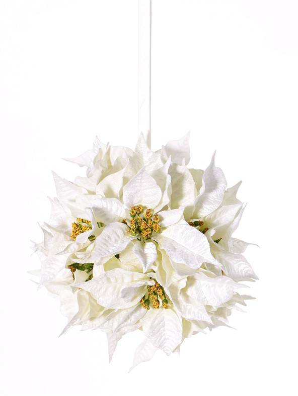 Poinsettiabal  with 12 velvet flowers (ø18cm) & whiteribbon, Ø 25cm