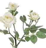 "Rozentak ""Elsa"", 3 bloemen, (Ø 7/5/3,5cm), 2 knop (1 plastic) & 32 blad, 48 cm"