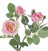 "Rose spray ""Elsa"", 3 flowers (Ø 7/5/3,5cm), 2 buds, 32 lvs., 48cm"