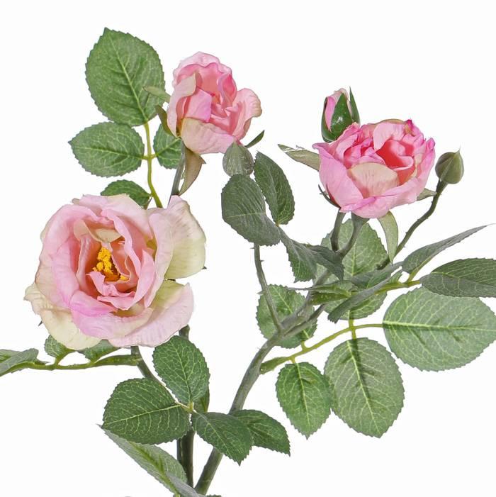 "Rosenzweig ""Elsa"", 3 Blumen (Ø 7/5/3,5cm), 2 Knospen, 32 Blätter, 48cm"