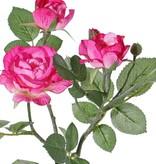 "Rama de Rosas ""Elsa"", 3 flores (Ø 7/5/3,5cm), 2 capullos, 32 hojas, 48 cm"