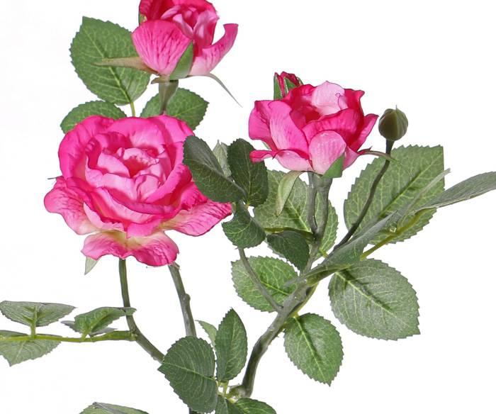 "Rozentak ""Elsa"", 3 bloemen (Ø 7/5/3,5cm), 2 knop (1 plastic) & 32 blad, 48 cm"