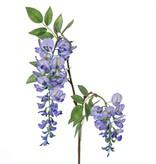 """Wisteria """"de luxe"""", blauweregen, met 2 bloemen (30cm/15cm) en 29 blaadjes, 105cm"""