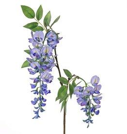 """Wisteria """"de luxe"""", blauwe regen, met 2 bloemen (30cm/15cm) en 29 blaadjes, 105cm"""