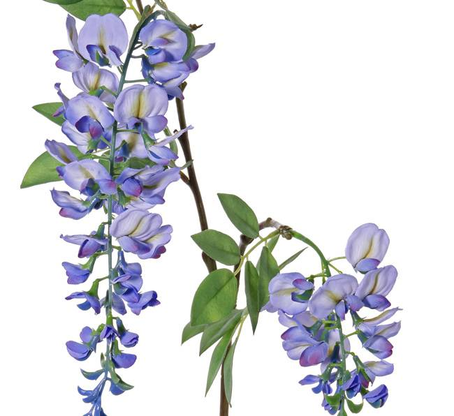 """Wisteria """"de luxe"""",  Blauregen, 2 Blumen, (30cm/15cm), 29 Blätter, 105cm lang"""