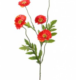 Poppy flower, 5 flowers, (Ø 5cm), 4 lvs., 63cm