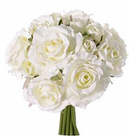 Ramo de Rosas 'Royal', 13 rositas  (9 large Ø 8cm, 4 small Ø 3 cm), con cinta, 25cm