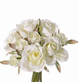 Ramo de Rosas 'Royal', 9 rositas  (5x med Ø 6cm & 4x small Ø 3cm), con cinta, 20cm