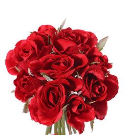 Roosboeket 'Royal', 9 roosjes (5 medium Ø 6cm & 4 small Ø 3cm), met lint, 20cm