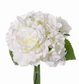 Ramo en mix de hortensia/rosa, rosa x3(Ø 13/8cm), hortensia x3 & 3hojas, 25cm